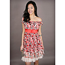 Plated Chiffon Polka Dot Babydoll Dress Red (XJQZ007)