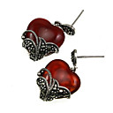 Sterling Silver Earrings with Marcasite &amp; Carnelian (FG018)