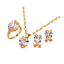 Romantic Cubic Zirconia Pendant, Chain , Ring, Earring Set - CZ Jewelry Set SXX-0041 Clear SZY114