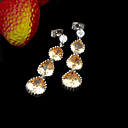 Beautiful Cubic Zirconia Drop Earring - CZ Earring ELX2-0009 Champagne (SZY442)