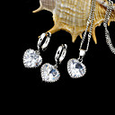 Platinum Cubic Zirconia Necklace and Earring Set - CZ Jewelry Set SXX--0010 (SZY357)