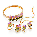 Elegant Colorful CZ Jewelry Set, Necklace, Bangle, Ring & Earring - CZ Set 81008-09 (SZY870)
