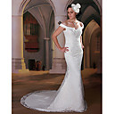Luxury Trumpet / Mermaid Off-the-shoulder Court Trains Lace Satin Wedding Dresses for Bride (KT1660)