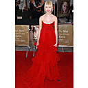 Taylor Momsen Empire Strapless Sweep/Brush Train Organza Evening/ Gossip Girl Fashion Dress(FSH0096)