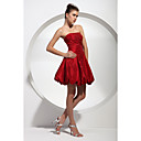 A-line Strapless Short/ Mini Taffeta Cocktail Dress (HSX881)