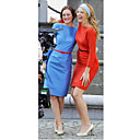 Serena Blair Sheath / Column Bateau Knee-length Satin Gossip Girl Fashion Dresses / Cocktail Dresses (FSD0277)