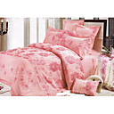 6-pc Luxury Pink Jacquard Cotton Full Size Duvet Cover Set - Free Shipping (0586-FZ005)