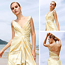 A-line V-neck Floor-length Elastic Satin Quick Delivery/ Evening/ Prom Dress (OFGC0228)
