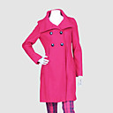 Big Funnel Collar Flared Shape Pea Coat Women's Coat (4672)