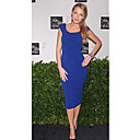 Blake Lively Sheath/ Column Scoop Knee-length Capped Short Elastic satin Gossip Girl Fashion/ Cocktail Dress (FSH0443)