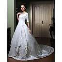 Ball Gown Scoop Half Sleeve Court Train Satin Wedding Dress with Split Front