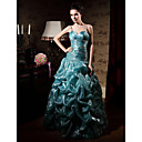 Ball Gown Spaghetti Straps Sleeveless Floor-length Fine Korean Organdy Prom Dress (FSM0470)