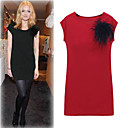Round Neckline Black Feather Jersey Dress Women's Dresses More Colors(1801AL005-0737)