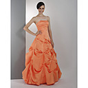 A-line Strapless Floor-length Applique Taffeta Prom/ Evening Dress (HSX1118)