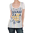 embroidery letters short  printed sleeveless round neckline stripes women's t-shirts(8502bc009-0736)