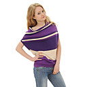 100% Cotton / Cowl Neck Bat Sleeves Irregular Stripes Sweater / Women's Sweaters (FF-0101BE001-0736)