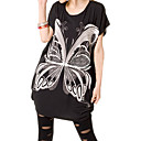 Butterfly Patterns Short Sleeves Round Neckline Longline T-shirt / Women's Maternity Wear (FF-4202BF011-0736)