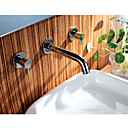 Chrome Finish Wall Mount Bathroom Sink Faucet (Widespread)