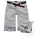 New Arrival Men's Short Straight Leg Relaxed Fashion Blue Grey Beige Yellow Cotton Pant (0531-5.31-15)