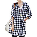 Check Patterns Hooded Gathered Back Long Sleeves Shirt / Women's Shirts (FF-4201BF001-0736)