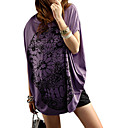 Cotton / Flowers Patterns Bat Short Sleeves Round Neckline Longline T-shirt / Women's Maternity Wear (FF-4202BF012-0736)