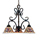 Floral Tiffany 3-Light Chandelier (0923-TF-P18)