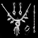 Gorgeous CZ Cubic Zirconia Wedding Bridal Jewelry Set(Including Necklace,Earing,Ring,Bracelet)(0986-jybs 001)