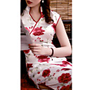 Mantel / Spalte Stehkragen gekappt knielangen Eis Seide cheongsam / Qipao / chinesisches Kleid (hgqp300)