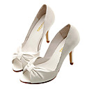 Top Quality Real Leather and Satin Upper High Heels Peep-toes With Bowknot Fashion Shoe(0985-L99)