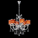 Iron and Crystal Chandelier with 6 Lights (Orange Shade)