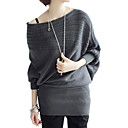 Stripes Design Off-shoulder Design Longline Bat Sleeves Sweater / Women's Sweaters (FF-C-BI0736618)