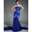 Stretch Satin Chiffon Trumpet/ Mermaid Strapless Court Train Evening Dress inspired by Shaun Robinson at Golden Globe