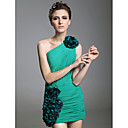 Sheath/Column One Shoulder Short/Mini Side-Draped Chiffon Stretch Satin Cocktail Dress