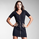 Front Zippers Short Sleeves Dress / Women's Dresses (FF-1801BD016-0789)