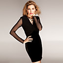TS Perspective Mesh Long Sleeves V Neckline Gathered Design Velvet Dress / Women's Dresses