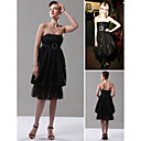 Taylor Momsen A-line Strapless Tea-length Taffeta Little Black/Cocktail/Bridesmaid/Gossip Girl Fashion Dress (FSH0023)