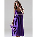 A-line Halter Knee-length Charmeuse And Chiffon Bridesmaid Dress