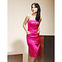 Sheath/Column Strapless Knee-length Stretch Satin Bridesmaid/Wedding Party Dress