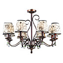Iron and Crystal Chandelier with 8 Lights (Enamel Paint Finish)