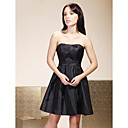 Opruiming! a-lijn strapless korte / mini taft bruidsmeisje / little black / bruiloft feest / thuiskomst jurk