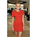 Diane Kruger Sheath/ Column Jewel Short/ Mini Elastic Satin Cocktail Dress (FSH02383)