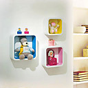 Wall Shelf - 3 pcs Floating Square Round-Angle Box Colourful Inside