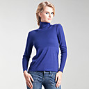 Rib Trim Design Long Sleeves Turtleneck Cashmere Sweater / Women's Cashmere Sweaters (FF-C-Bl0681017)