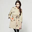 Half Sleeves Diagonal Zipper Lapel Trench Coat / Women's Outerwears (FF-D-BL0736305)