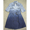 Tie-dying Jeans Short Sleeves With Belt Trench Coat / Women's Outerwear (FF-D-CA0736601)