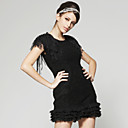 Self Belted Shoulder Tassels Layered Hem Dress / Women's Dresses (FF-A-BA0996002)