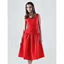 A-line V-neck Knee-length Taffeta Bridesmaid/ Wedding Party Dress