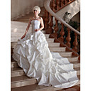 Ball Gown Strapless Cathedral Train Satin Lace Pick-up Wedding Dress