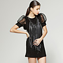 Tassels Design Organza Round Neckline Short Sleeves T-shirt / Women's T-shirts (FF-H-CA1287001)