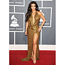 Kim Kardashian Sheath/ Column V-neck Sweep/ Brush Train Sequined Grammy/ Evening Dress (FSM04586)